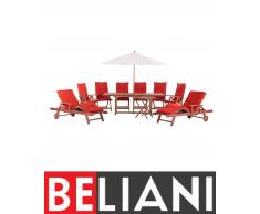 Arredamento da giardino - Legno - Tavolo - 2 chaise-longue - 6 sedie - Cuscini terracotta e ombrellone inclusi - TOSCANA