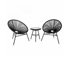 Set da balcone nero - 2 sedie e tavolino da caffè - ACAPULCO