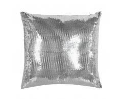 Cuscino decorativo a paillettes 45 x 45 cm argento