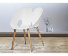 Sedia bianca - Sedia da pranzo di design - Sedia in plastica e legno - MEMPHIS
