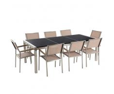 Set di tavolo e 8 sedie da giardino in acciaio, basalto e fibra tessile beige - Nero lucido - 220cm - GROSSETO