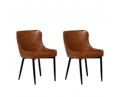 Set di 2 sedie da pranzo in ecopelle marrone vintage SOLANO
