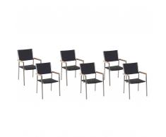Set 6 sedie da giardino in rattan e acciaio GROSSETO