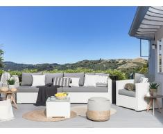 Set di divani da giardino in rattan bianco XXL