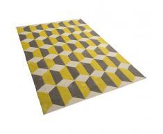 Tappeto rettangolare in tessuto grigio/giallo a pelo corto - 140x200cm - ANTALYA