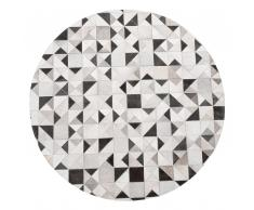 Tappeto in pelle color grigio e nero rotondo ø 140 cm KIRKLAR