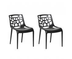 Set di 2 sedie da pranzo in plastica nera MORGAN