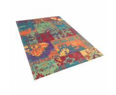 Tappeto multicolore in cotone e poliestere realizzato a mano - 160x230 cm - TOSYA