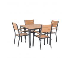 Set da pranzo da giardino marrone in alluminio e poliwood - Tavolo 95x95cm e 4 sedie - PRATO