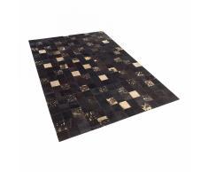 Tappeto patchwork in pelle marrone scura e beige - 140x200cm - BANDIRMA