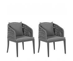 Set di 2 sedie da giardino in colore grigio LIPARI