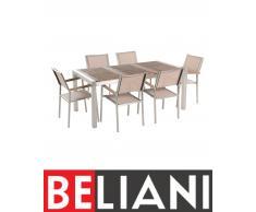 Set di tavolo e 6 sedie da giardino in acciaio, legno e fibra tessile beige - 180cm - GROSSETO