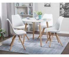 Tavolo tondo in legno e piano in MDF bianco 90cm BOVIO
