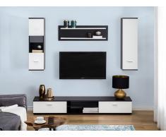 Set di mobili componibili da soggiorno in color bianco/nero SILESIA