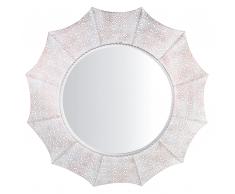 Specchio da parete in color bianco con rifiniture in rame rotondo 68 cm MYSORE