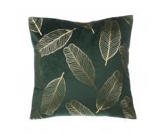 Cuscino decorativo a foglie 45x45cm velluto verde scuro FREESIA