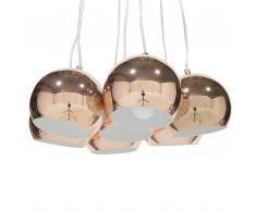 Lampadario a 7 punti luce in metallo color rame OLZA