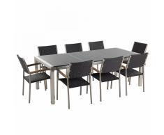 Set di tavolo e sedie da giardino in acciaio, granito e rattan - Grigio lucido - 220cm - GROSSETO