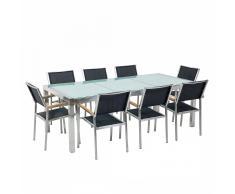 Set tavolo e sedie da giardino - In vetro temperato e fibra tessile nera - tavolo 220 con 8 sedie - GROSSETO