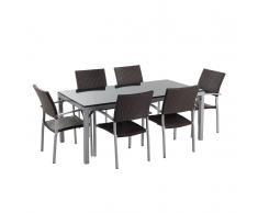 Set di tavolo e sedie in rattan e granito nero lucido TORINO