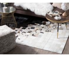 Tappeto in pelle color bianco e nero 140 x 200 cm KEMAH