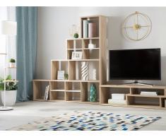 Libreria scaffalatura in color quercia e bianco MERLO