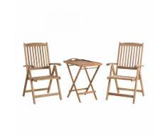 Set da balcone - Tavolino e due sedie ripiegabili in legno - RIVIERA