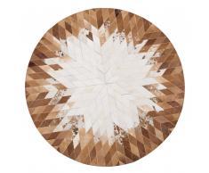 Tappeto in pelle color marrone e bianco rotondo ø 140 cm KELES