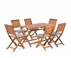 Set da giardino tavolo 6 sedie in legno di acacia CENTO