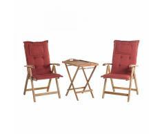 Set da balcone - Tavolino e due sedie con cuscini color terracotta - RIVERA
