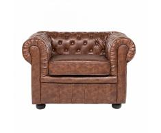 Poltrona vintage in pelle marrone invecchiato CHESTERFIELD