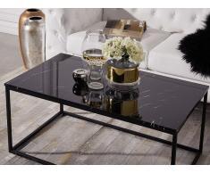 Tavolino da caffè con piano ad effetto marmo nero DELANO