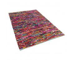 Tappeto multicolore in poliestere realizzato a mano 80x150cm BELEN
