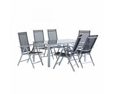 Set di tavolo da giardino 160cm e 6 sedie in alluminio grigio CATANIA