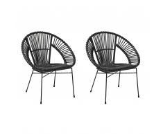 Set di 2 sedie in rattan nero SARITA