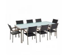 Set tavolo e sedie da giardino - In vetro temperato bianco e rattan - tavolo 220 con 8 sedie - GROSSETO