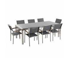 Set di tavolo e 8 sedie da giardino in acciaio, granito e fibra tessile grigia - Grigio lucido - 220cm - GROSSETO
