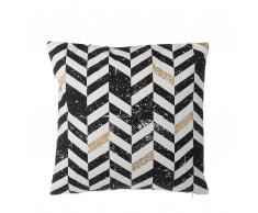 Cuscino decorativo in cotone a righe 45 x 45 cm nero/oro