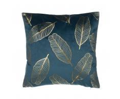 Cuscino decorativo a foglie 45 x 45 cm blu