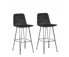 Set di 2 sedie da bar in rattan color nero CASSITA