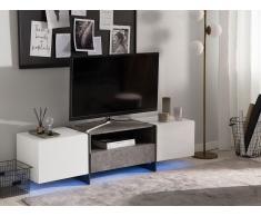 Mobile TV in color bianco ed effetto cemento con LED RUSSEL