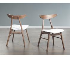 Set di 2 sedie da pranzo in ecopelle bianca LYNN