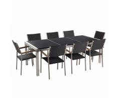 Set di tavolo e sedie da giardino in acciaio, basalto e rattan - 220cm - GROSSETO