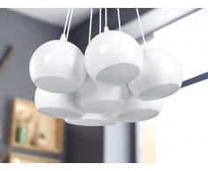 Lampadario a 7 punti luce in metallo bianco OLZA