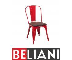 Sedia da pranzo in metallo rosso con seduta in legno - APOLLO