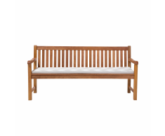 Panchina legno Balau bianco alta qualità e cuscino grigio/beige 180cm JAVA