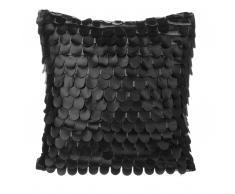 Cuscino decorativo a squame imitazione di pelle 45 x 45 cm nero