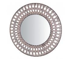 Specchio da parete color marrone diametro 77cm AUMAR