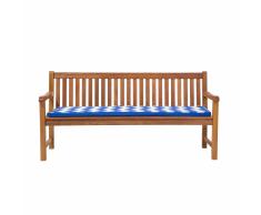 Panchina legno Balau bianco alta qualità e cuscino blu 180cm JAVA