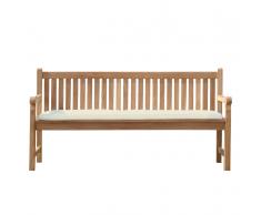 Panchina legno Balau bianco alta qualità e cuscino crema 180cm JAVA